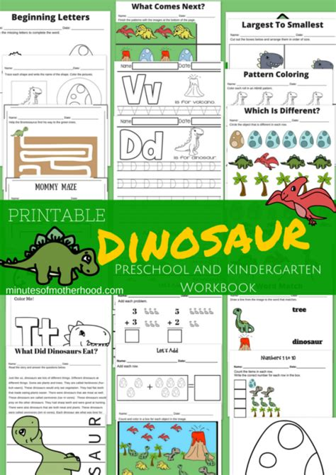 20 page dinosaur themed free printable preschool and 768 | 074023c7f193b4be5876164dcfcaf3d3