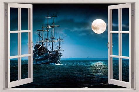 3d Window Ocean View Blue Sea Home Decor Wall Sticker: PIRATE SHIP 3D Window View Decal WALL STICKER Home Decor