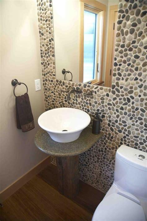 polished mixed pebble tile bathroom wall backsplash