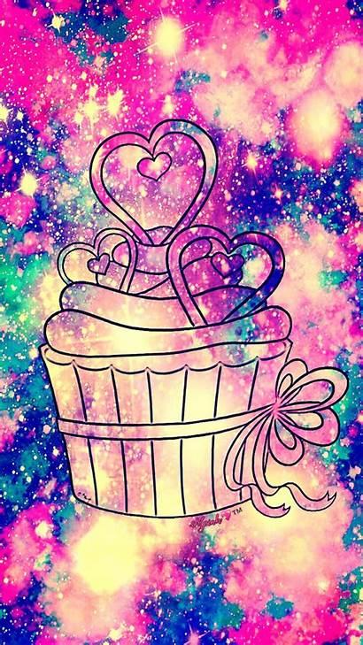 Cupcake Galaxy Wallpapers Glitter Kawaii Pretty Sparkle