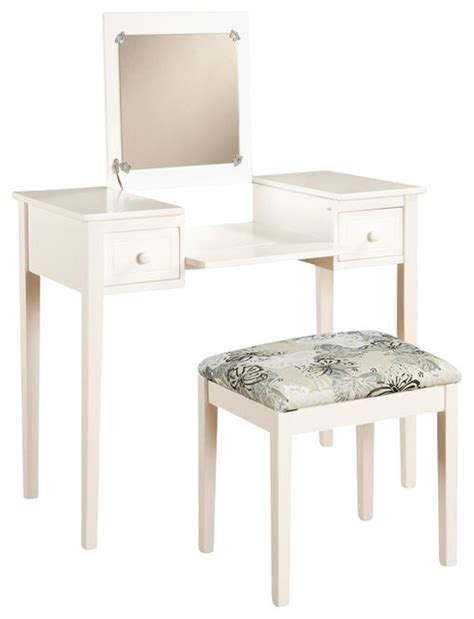 White Bedroom Vanity Set by Linon Vanity Set With White Butterfly Bench In White