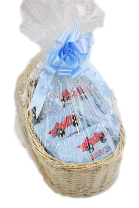 personalised baby boy car design gift basket hamper