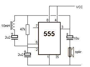 Simple Metal Detector Using Timer Circuit Diagram