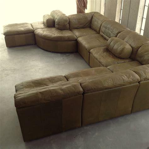 Original Leather Sofa Patchwork Modular Sofa In Original Olive Green Leather