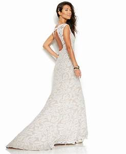 adrianna papell beaded lace cap sleeve trumpet wedding With adrianna papell wedding dresses