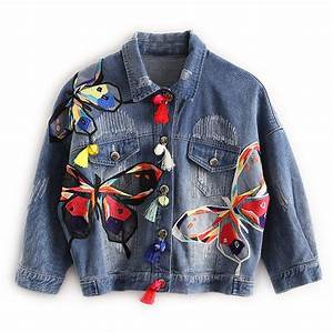Colorful Butterfly Embroidery Ladies Jean Jackets Patch Designs Womens Denim Coats with Tassel ...