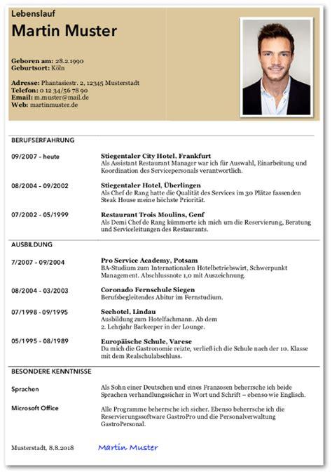 Vorlage Lebenslauf Bewerbung by Tabellarischer Lebenslauf Anleitung Beispiele