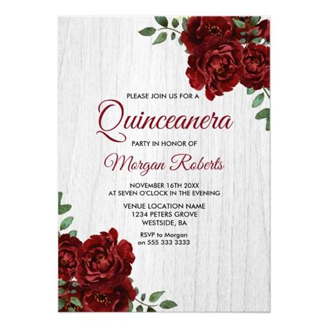 burgundy red rose rustic white quinceanera invite zazzle