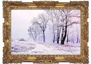 Beautiful Snowy Forest Scenery Landscape Art Mural Printed ...
