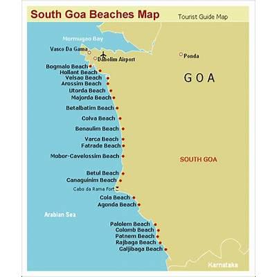 South Goa Beaches Maps India Map