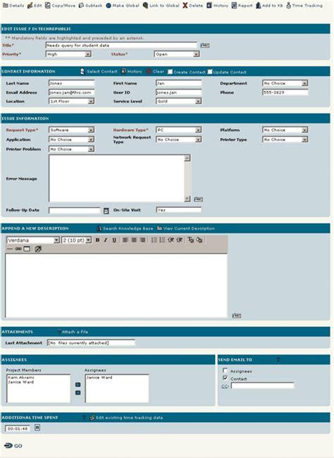 help desk call tracking software product review footprints a help desk tool techrepublic