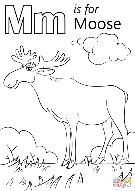 moose coloring pages letter m is for moose coloring page free printable