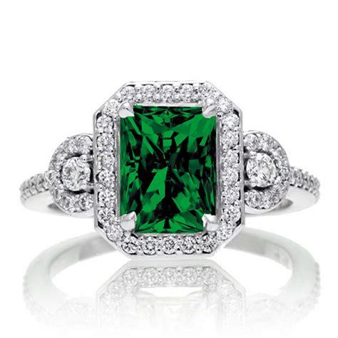 emerald and diamond wedding ring 2 carat emerald cut emerald and white diamond halo engagement ring 10k white gold jeenjewels