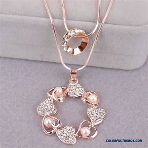 Gold Chart Trend Cheap High End Diamond Crystal Double Gold Necklace Drop