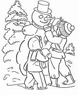 Winter Nature Season Coloring Printable Drawing sketch template
