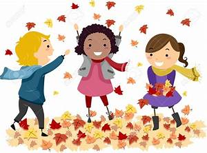 Children Playing In Leaves Clipart - ClipartXtras