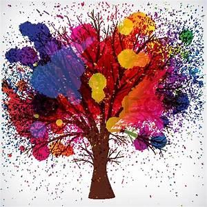 Malen Mit Wasserfarben : abstrakt baum mit zweigen hergestellt aus wasserfarben tropfen vektorgrafik colourbox ~ Orissabook.com Haus und Dekorationen