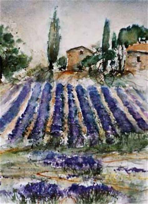 aquarelle provence mit lavendelfeld