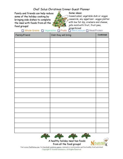 christmas sign up sheet healthy guest planning sheet