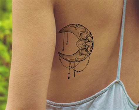 Lotus Tattoo / Mandala Fake Tattoo / Boho Vintage Flower Tattoo / Girly Tattoo / Big Tattoo