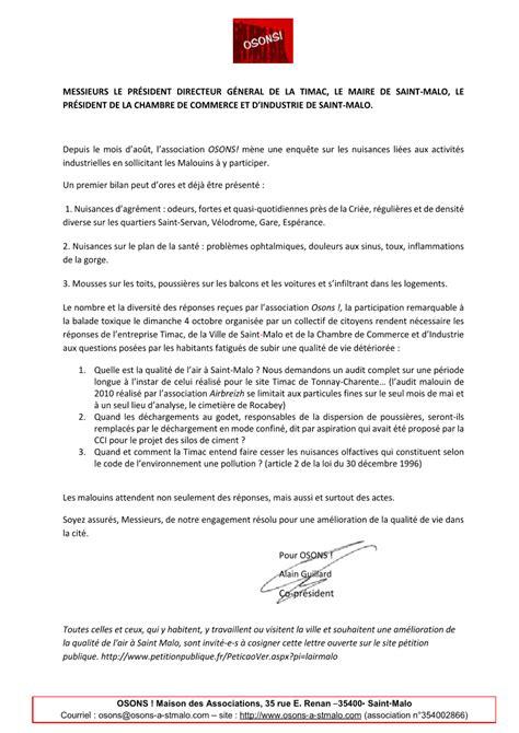 adresse si鑒e air qualité de l air à malo osons adresse une lettre ouverte aux responsables osons