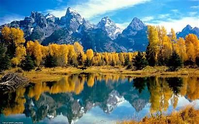 Lake Fall Mountain Canada Reflection Trees Desktop