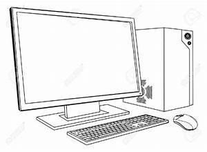 Computer clipart outline - Pencil and in color computer ...