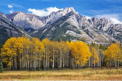 Canada Wallpapers Fall Mountain Range Meadow Alberta