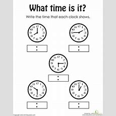 Telling The Time  Worksheet Educationcom
