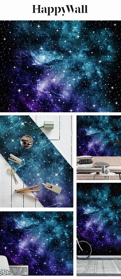 Teal Galaxy Purple Nebula Mural Happywall Space