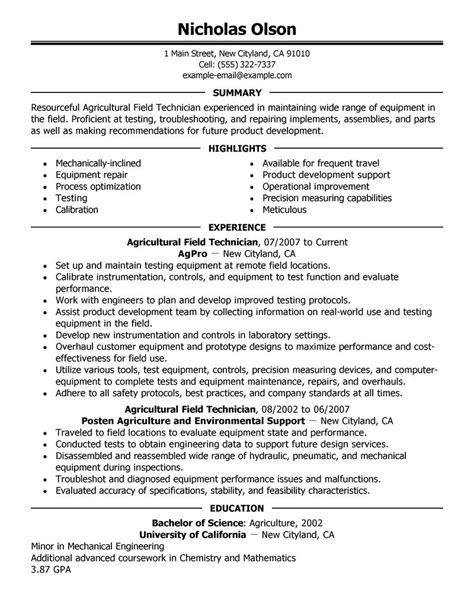 Field Service Resume by Field Technician Resume Exle Agriculture Environment Sle Resumes Livecareer