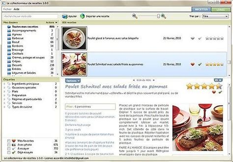 logiciel fiche technique cuisine télécharger le collectionneur de recettes pour windows