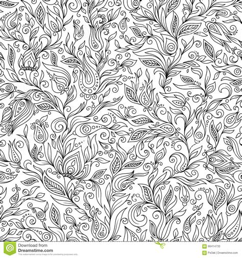 Coloring Background by Pattern For Coloring Book Floral Doodle Design