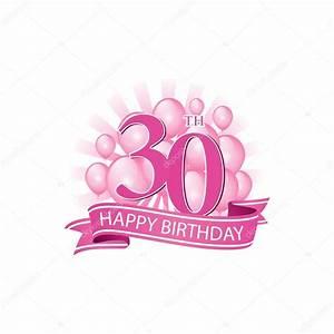 30 Dinge Zum 30 Geburtstag : 30 rosa alles gute zum geburtstag logo mit luftballons ~ Sanjose-hotels-ca.com Haus und Dekorationen