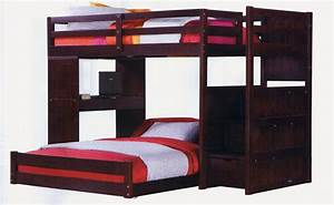 Varnished Dark Teak Wood Bunk Beds With Stairs Using Desk ...