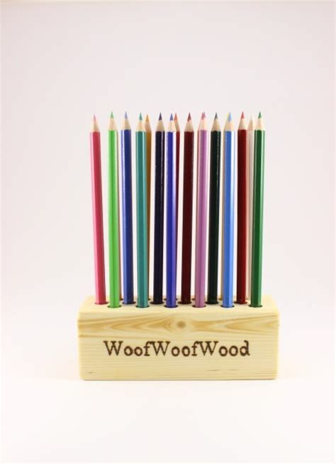 Holder With Holes by Personalized Pencil Holder With 18 Holes Woofwoofwood