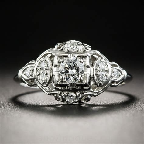 platinum art deco diamond engagement ring