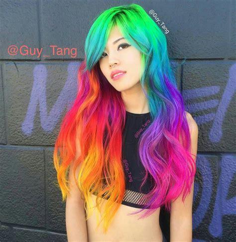 Long Rainbow Hair Color Pretty Hairstyles Rainbow Hair