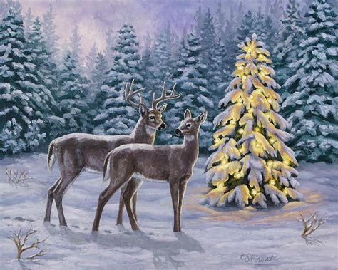 Deer Hunting Iphone Wallpaper Whitetail Christmas Painting By Crista Forest