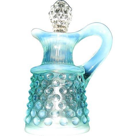 vintage fenton ls vintage fenton blue opalescent hobnail cruet from