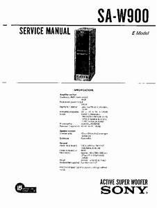 Sony Sa-w900 Service Manual