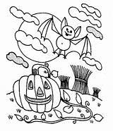 Coloring Pumpkin Halloween Pages Bats Bat Pumpkins Night Books Field Eat Dinner Open sketch template