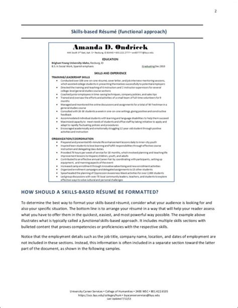 skills based resume template free career changer tips and resume sles sle templates