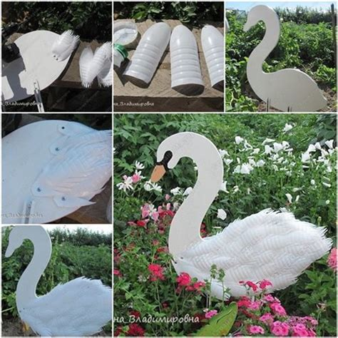 cool creativity diy swan garden decorations using
