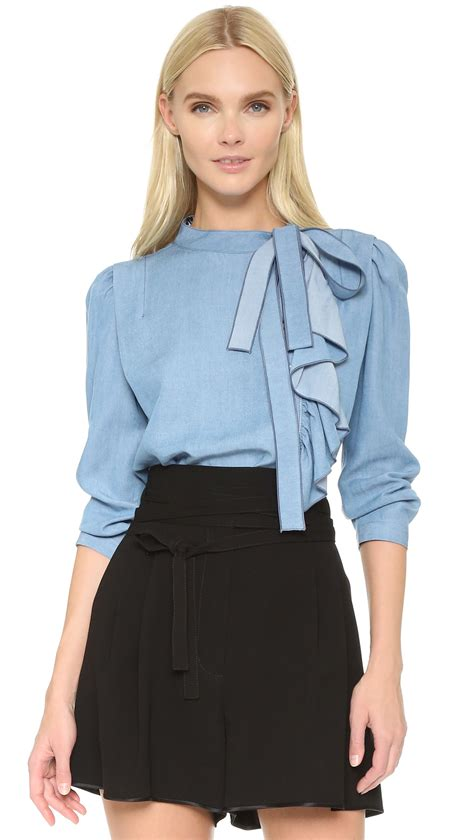 ruffled blouses marc ruffle blouse in blue lyst