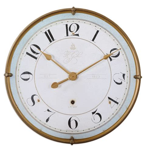Accent Wall Clock by Torriana Antique Gold Metal Frame Pale Blue Accent Wall