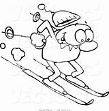 Skiing Winter Happy Slope Drawing Line Down Steep Downhill Cartoon Clipart Royalty Coloring sketch template