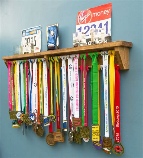 medal hanger display with trophy shelf gift ideas for runners gymnastics etc ebay