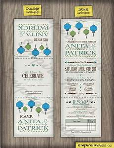custom chinese lantern wedding invitations canada empire With tri fold wedding invitations canada