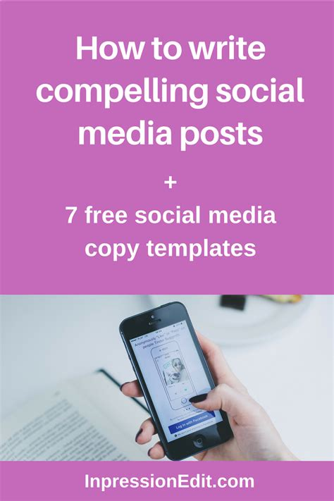 social media post template how to write compelling social media posts 7 free social media copy templates inpression editing